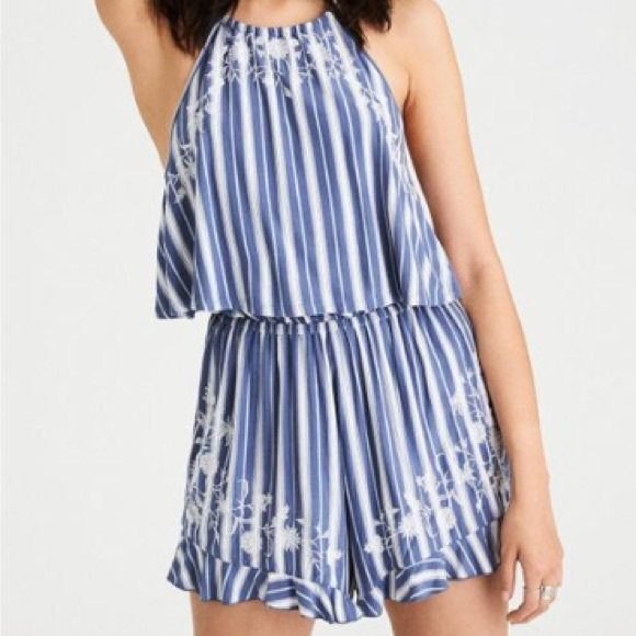 1656348720a NWT AE Blue Knit Embroidered Halter Romper